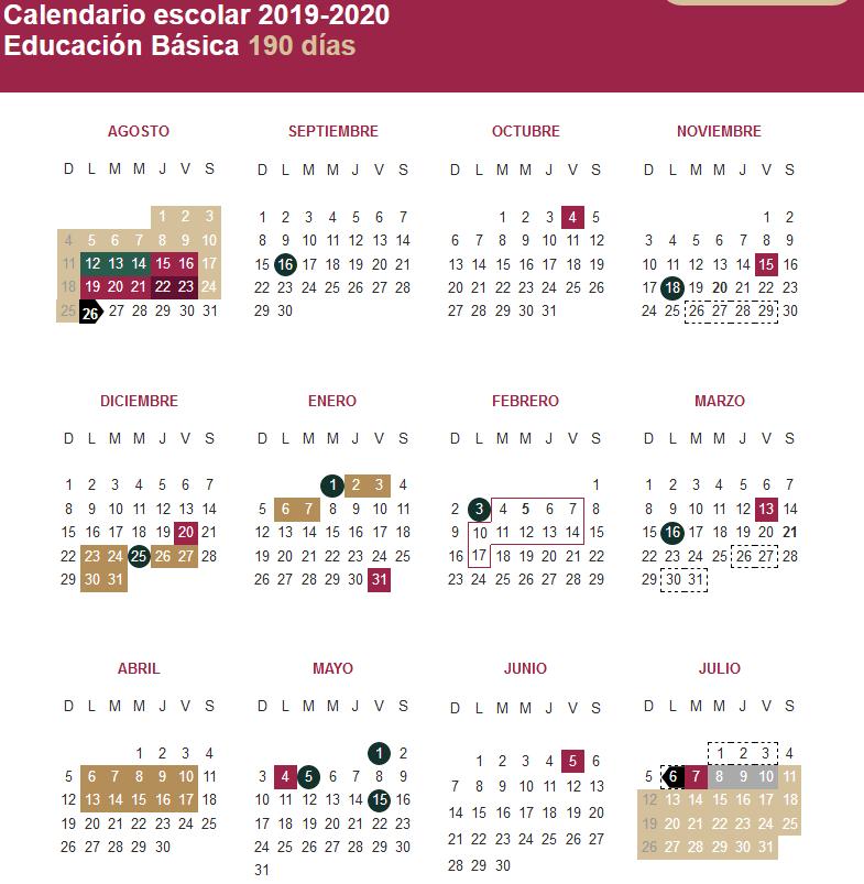 Dias Festivo Calendario 2020 Mexico.Conoce Los Puentes Y Dias Festivos Del Ciclo Escolar 2019