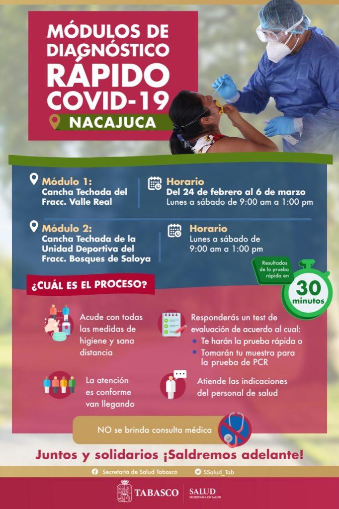 Fortalecen con dos módulos de detección oportuna COVID-19 en Nacajuca