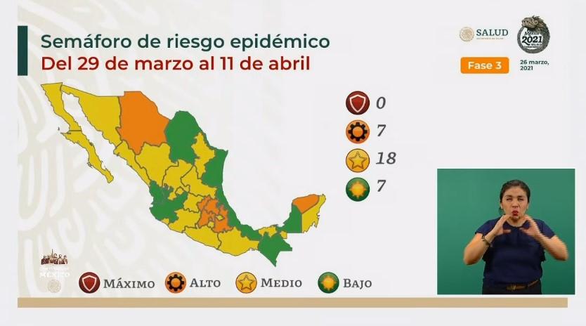 Mapa del semáforo epidemiológico: marzo 29 - abril 11