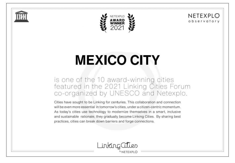 "Agradece Claudia Sheinbaum premio ""Netexplo Linking Cities 2021"