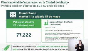 vacunación de adultos de 50 a 59 años en la alcaldía Cuauhtémoc