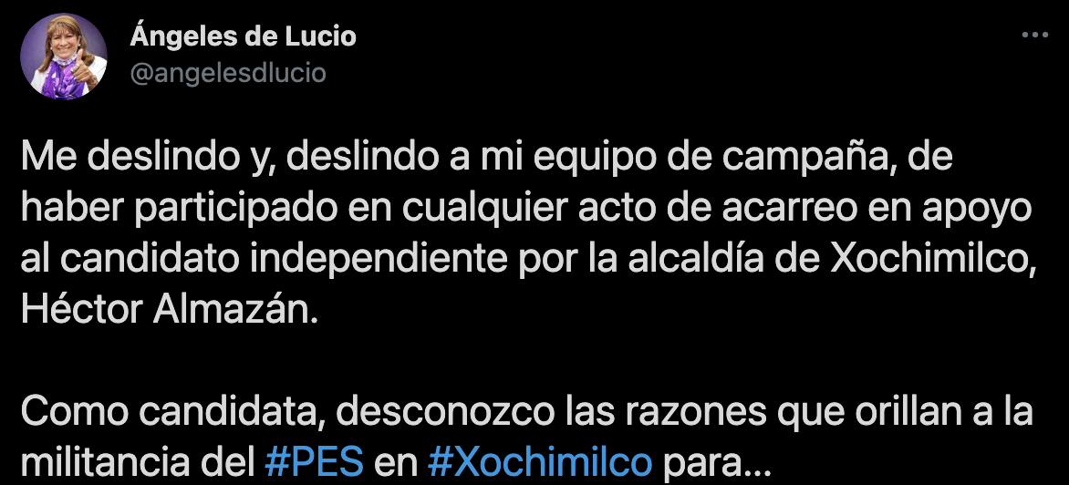 Se deslinda Candidata del PES de Acarreo en Xochimilco