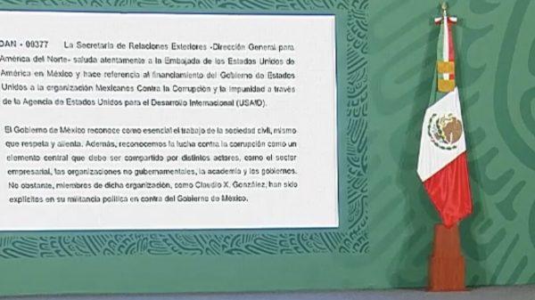 México envía nota diplomática a EU por financiamiento a Mexicanos Contra la Corrupción