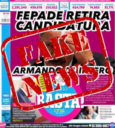 Ciberdelincuentes usan portada de Basta para atacar a Armando Quintero