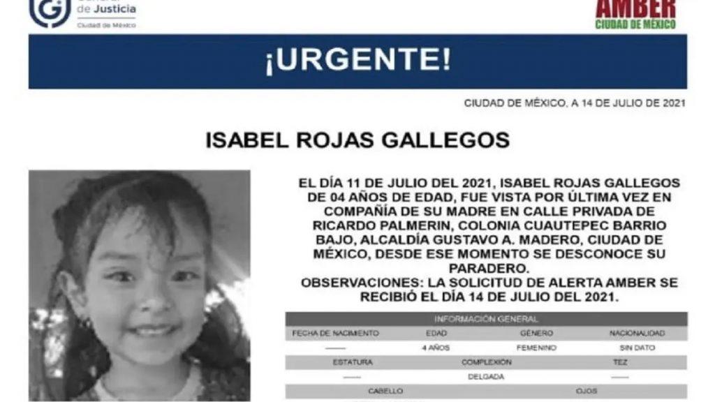 La pequeña Isabel Rojas fue reportada como desaparecida el 11 de julio y hallada muerta el 17 del mismo mes, su madre y padrastro son sospechosos.